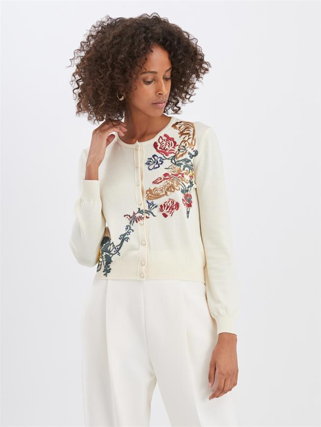 Embroidered Cardigan Ivory