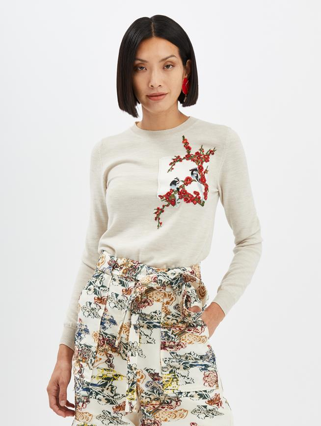 Embroidered Pullover Ecru