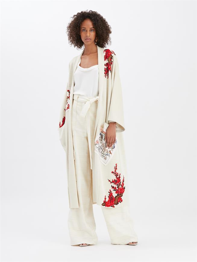 Patchwork Embroidered Cardigan Ivory