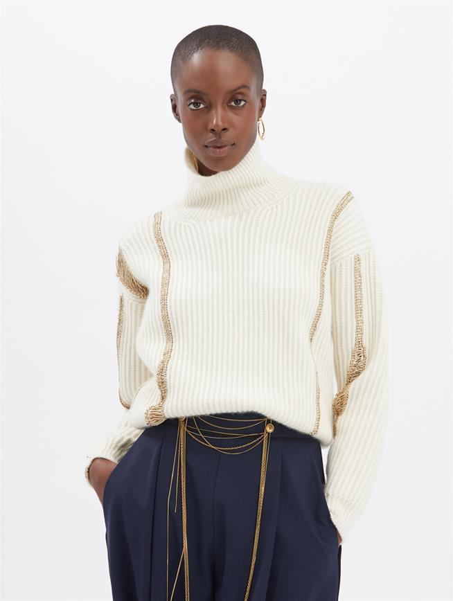 Embroidered Pullover Ivory/Gold