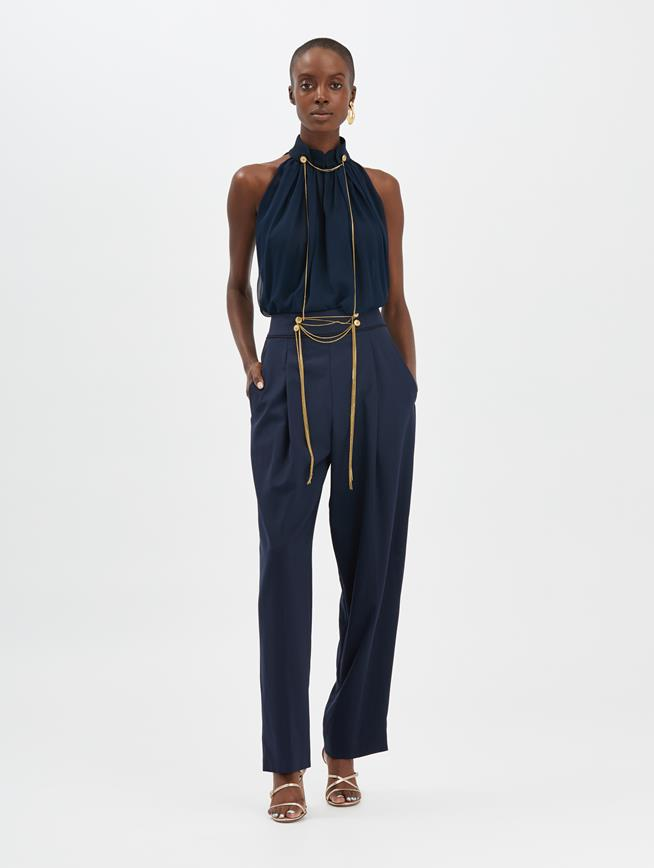 Chain-Embroidered Pants Navy