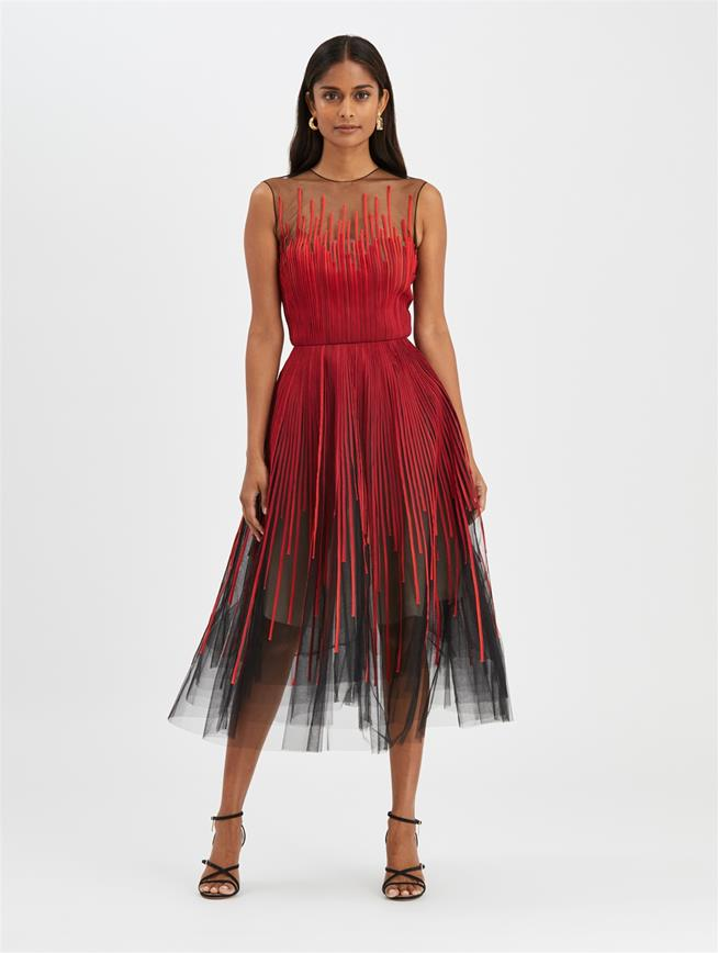 Embroidered Cocktail Dress Black/Poppy