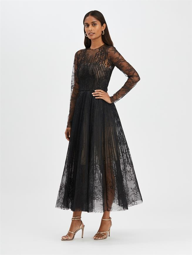 Lace Cocktail Dress Black/Black