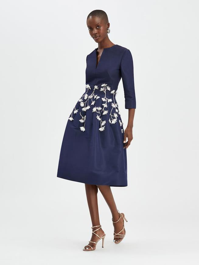 Embroidered Cocktail Dress Navy/White
