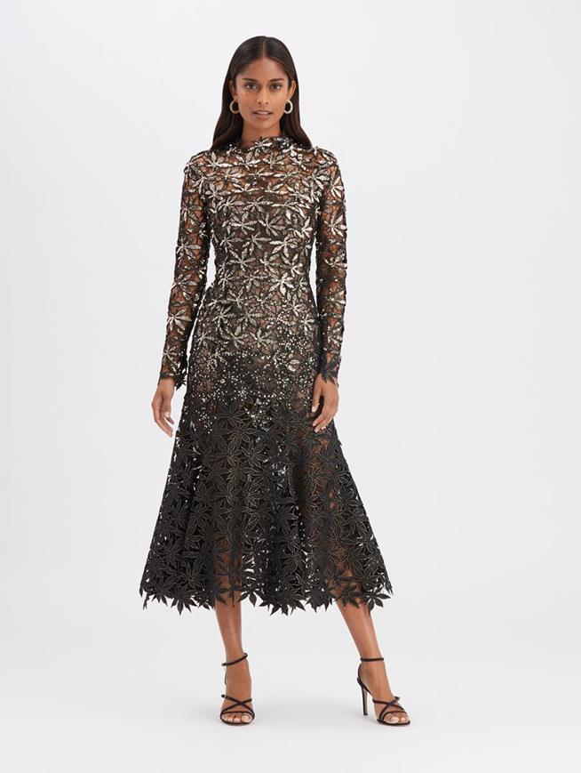 Metallic Cocktail Dress Black/Gold