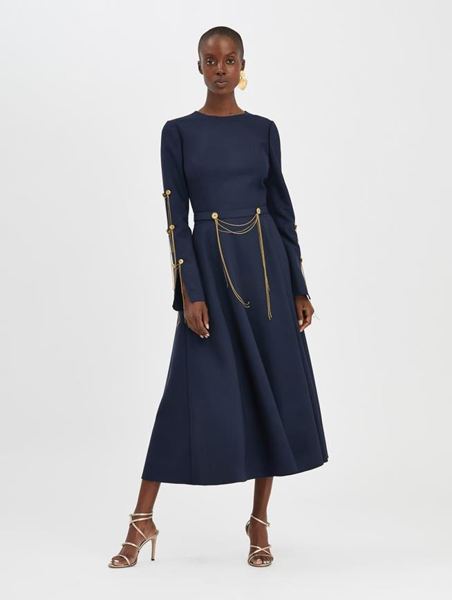 Chain-Embroidered Cocktail Dress Navy