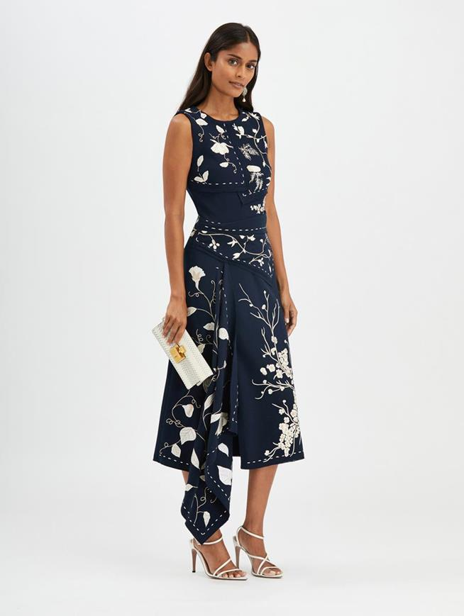Embroidered Cocktail Dress Navy