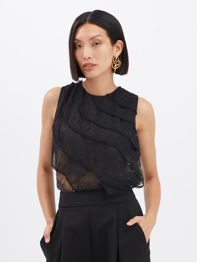 Embroidered Lace Blouse Black