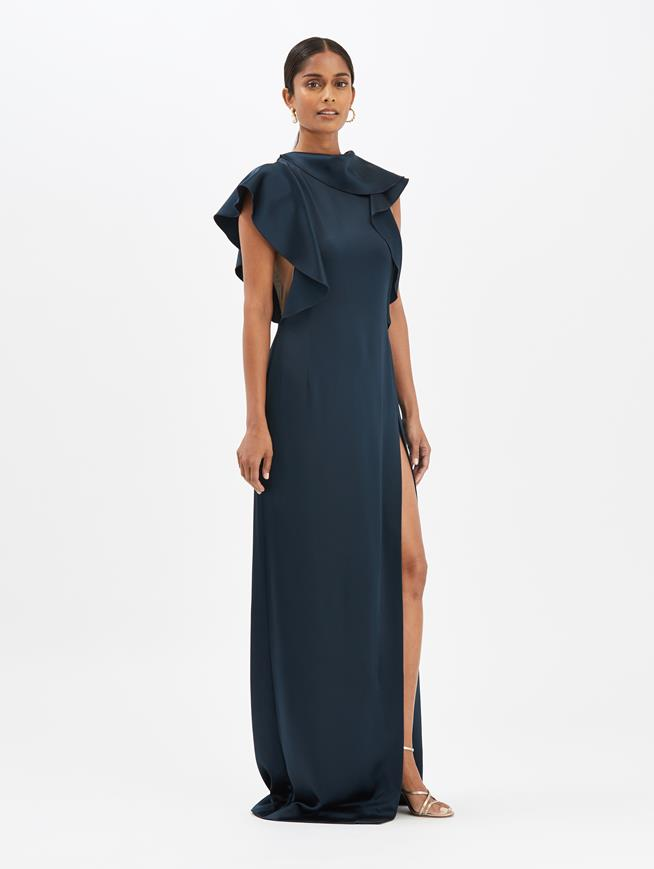 Ruffled Gown Navy
