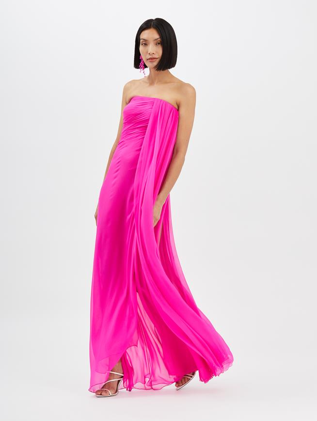 Draped Column Gown Shocking Pink