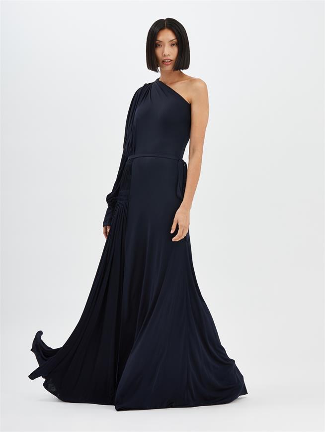 One-Shoulder Gown Dark Navy