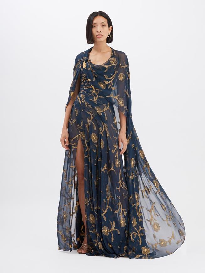 Lurex Fil Coupé Gown Navy/Gold