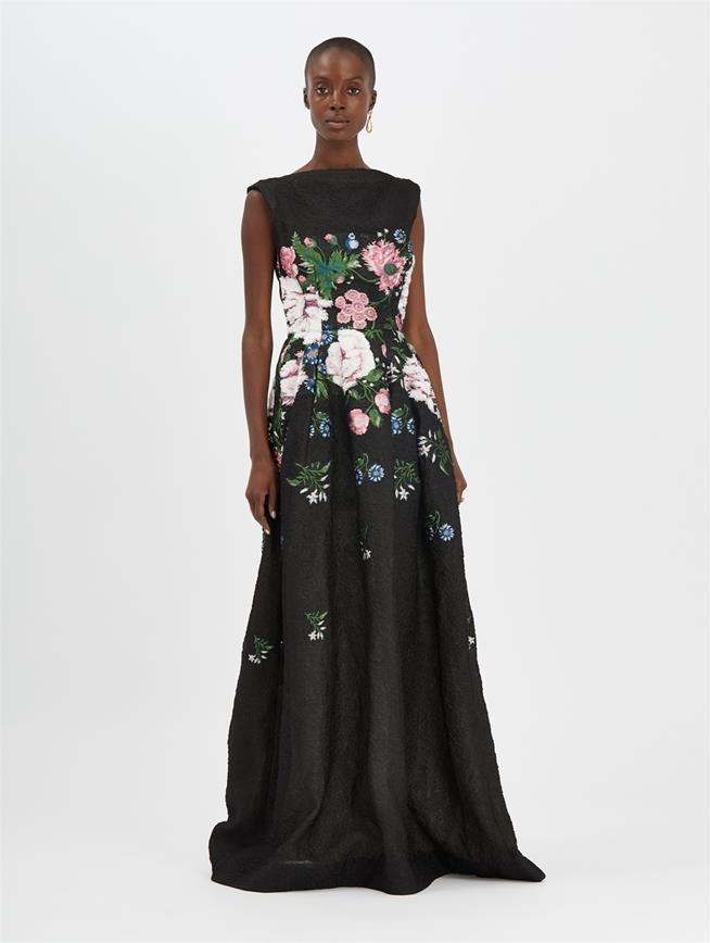Botanical Jacquard Gown Black Multi