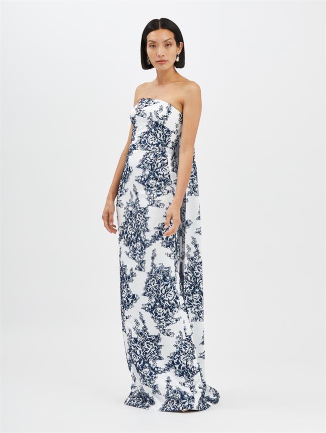 Fil Coupé Column Gown White/Indigo