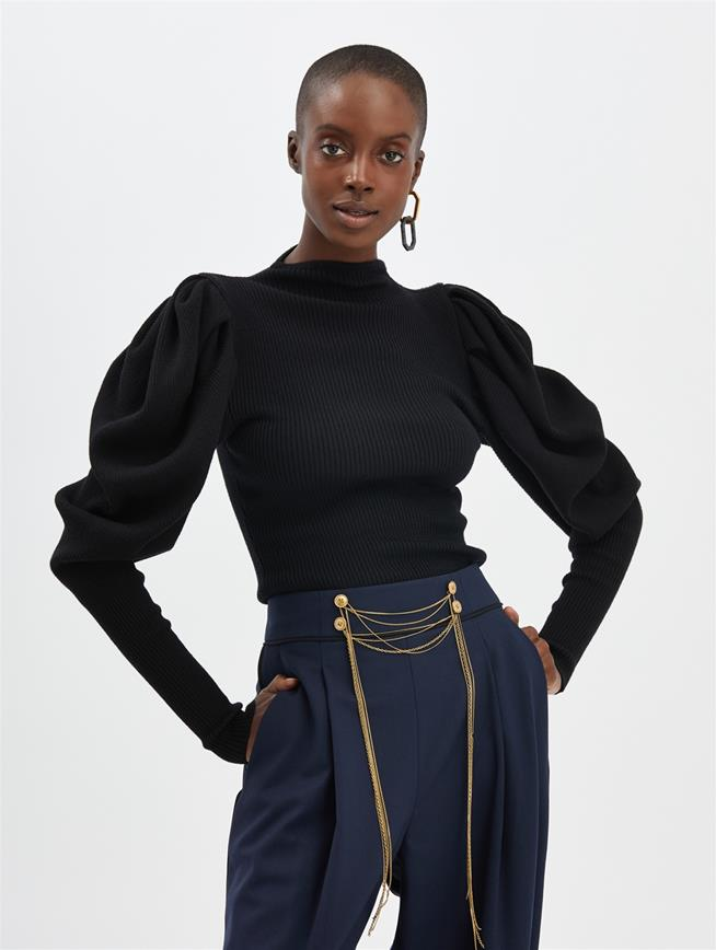 Puff-Sleeve Pullover Black