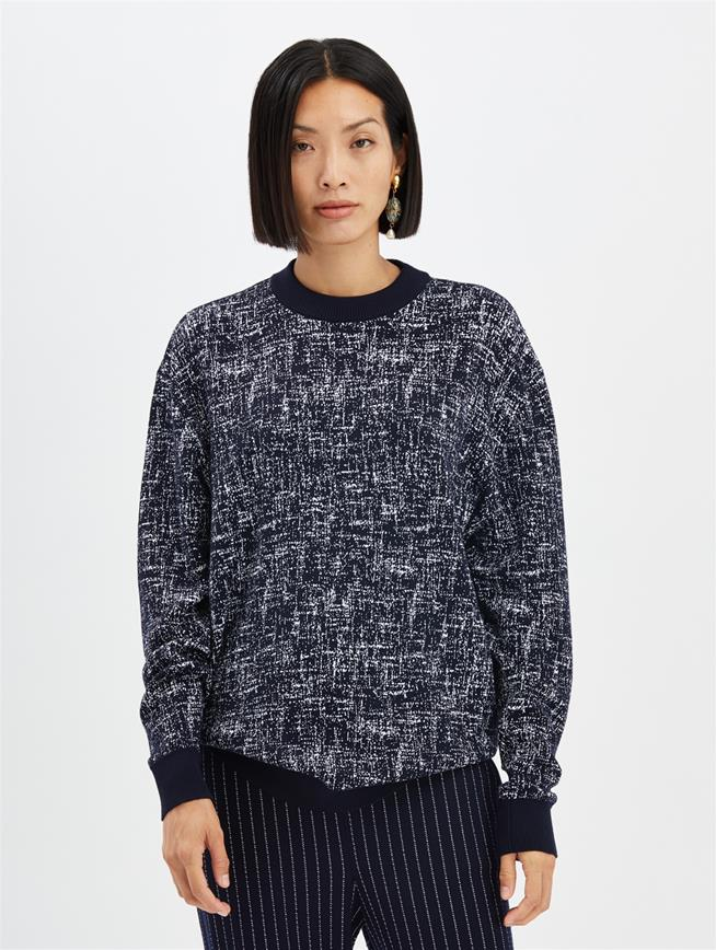Marled Pullover Navy/White