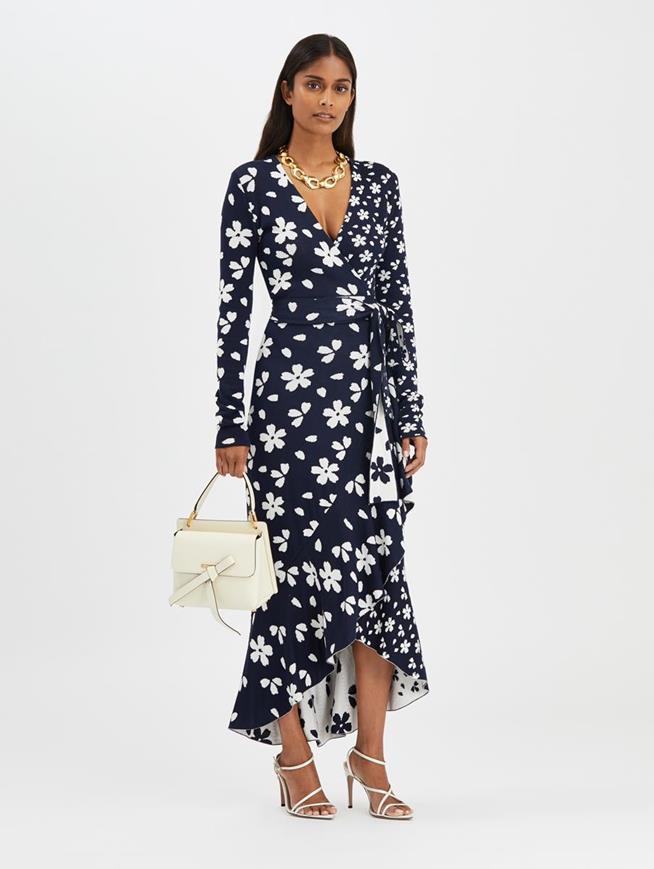 Flower Wrap Dress Navy/White