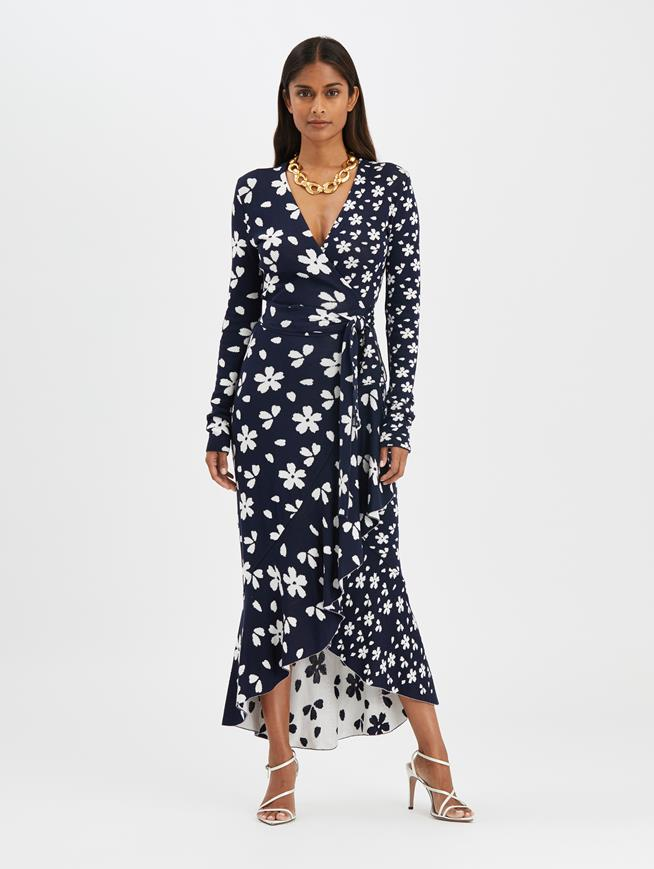 Flower Wrap Dress Navy/White