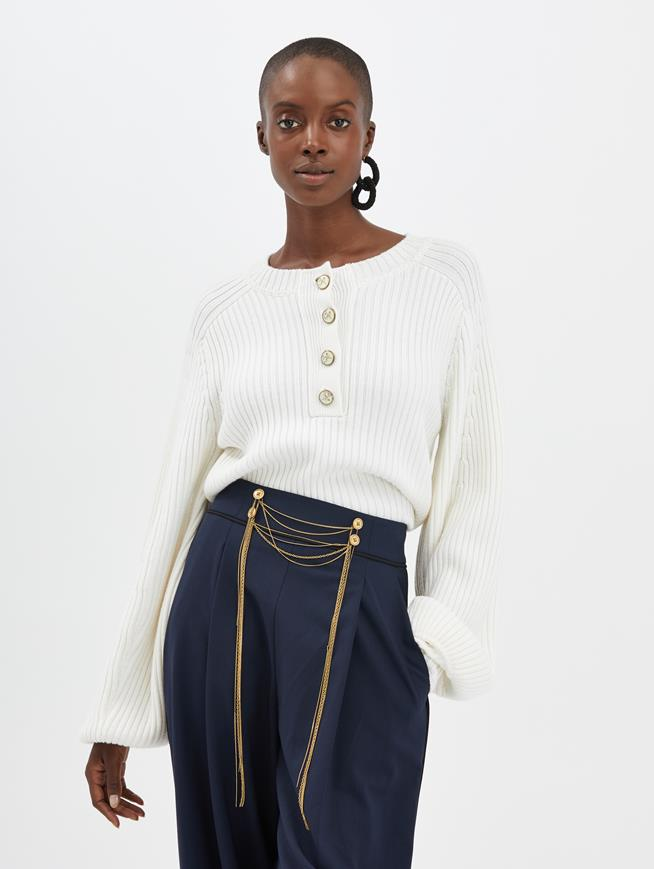 Ribbed Cashmere Pullover Ivory