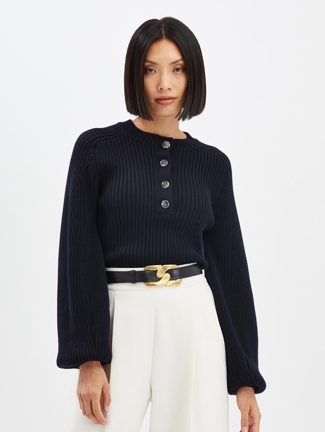 Ribbed Cashmere Pullover Navy