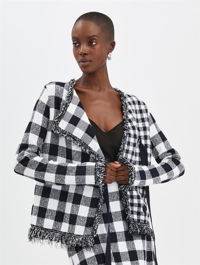 Check Tweed Jacket Navy/White