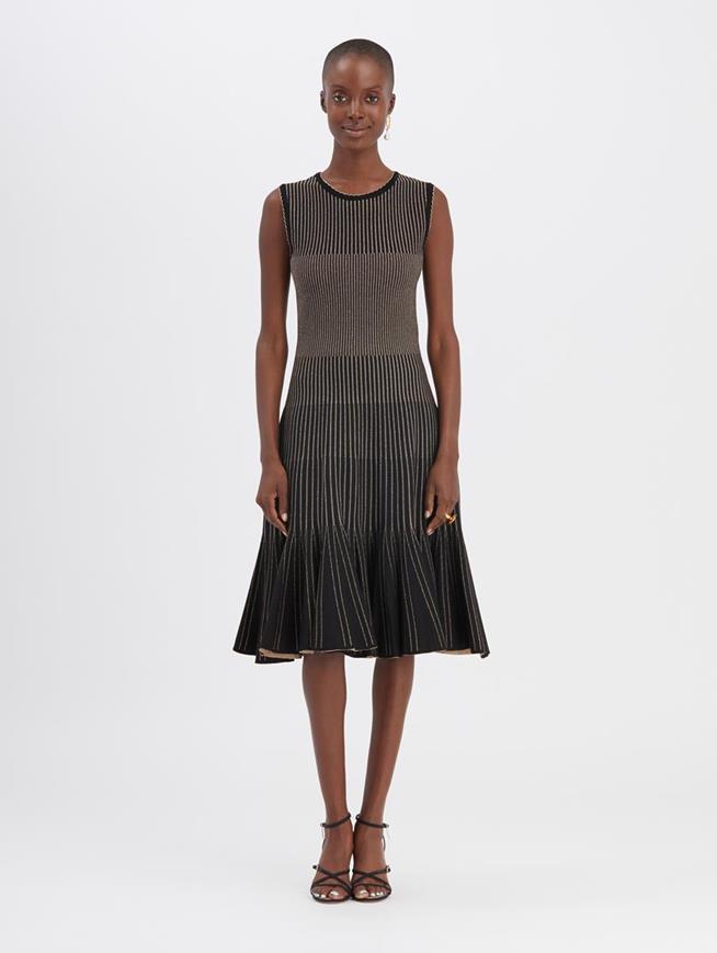 Metallic Ribbed Dress Black/Gold