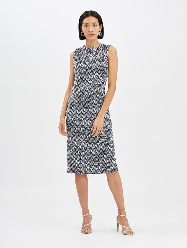 Pompom Tweed Dress Midnight