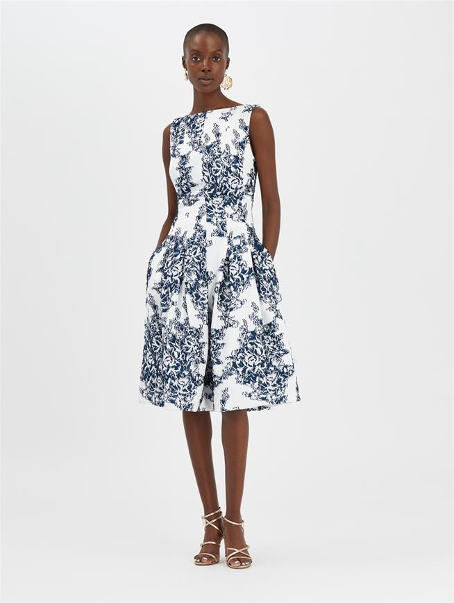 Floral Fil Coupé Dress White/Indigo