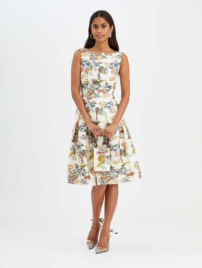 Floral Fil Coupé Dress Ivory