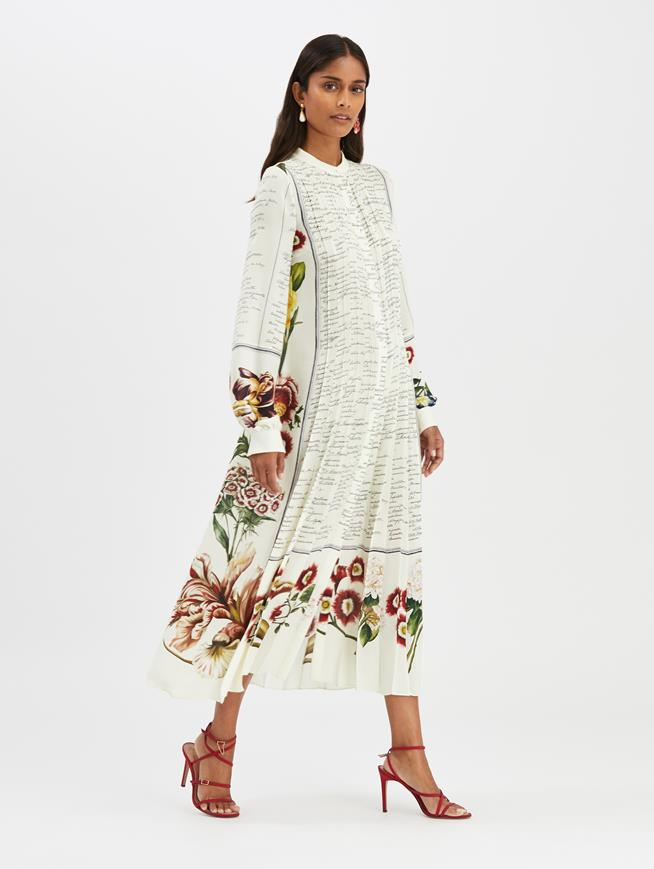 Floral Calligraphy Dress Ecru Multi