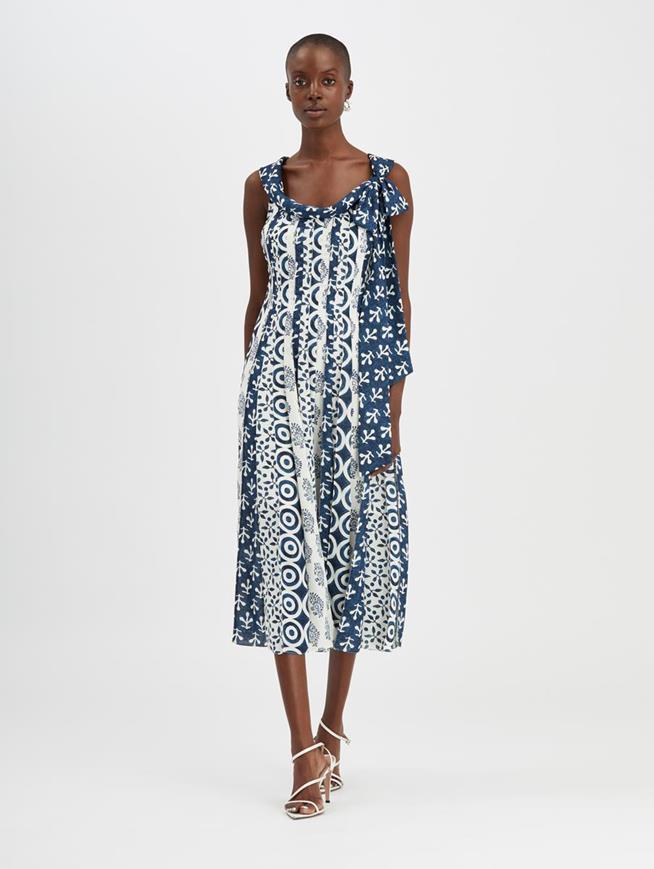 Woodblock Dress Ivory/Indigo