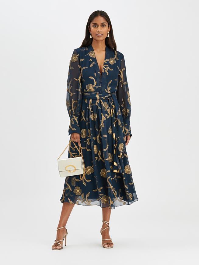 Lurex Fil Coupé Dress Navy/Gold
