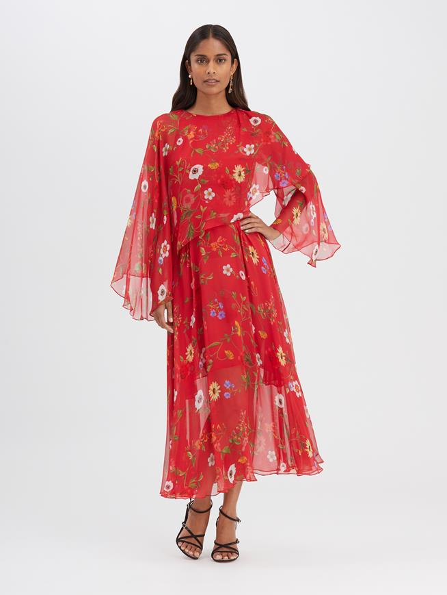 Botanical Chiffon Dress Red Multi