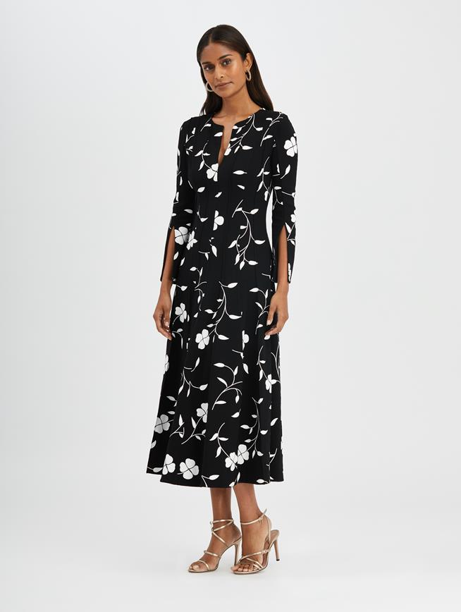 Floral Silhouette Dress Black