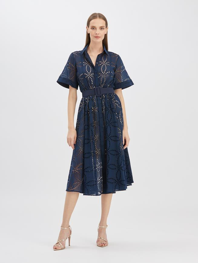 Eyelet Shirtdress Navy