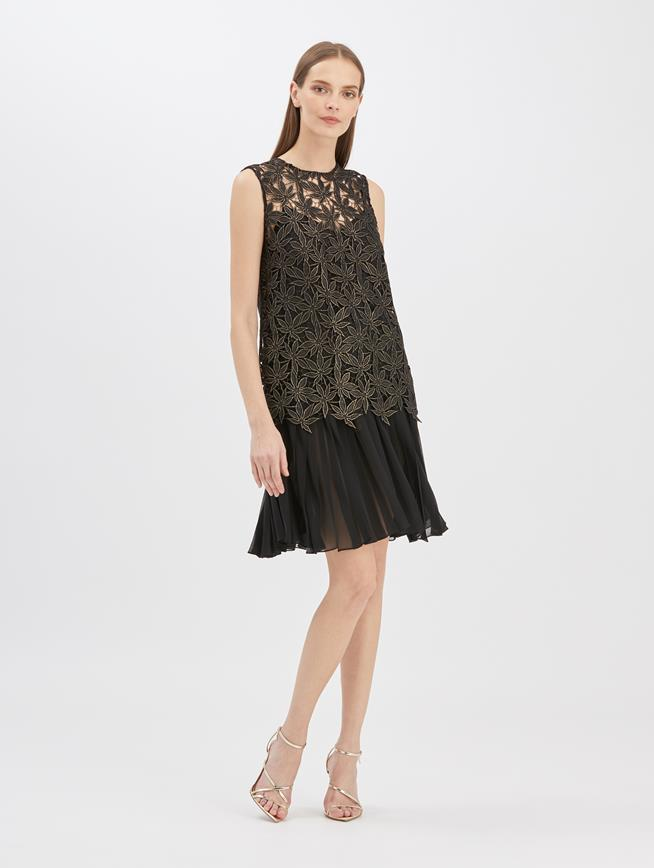 Guipure and Chiffon Dress Black Gold
