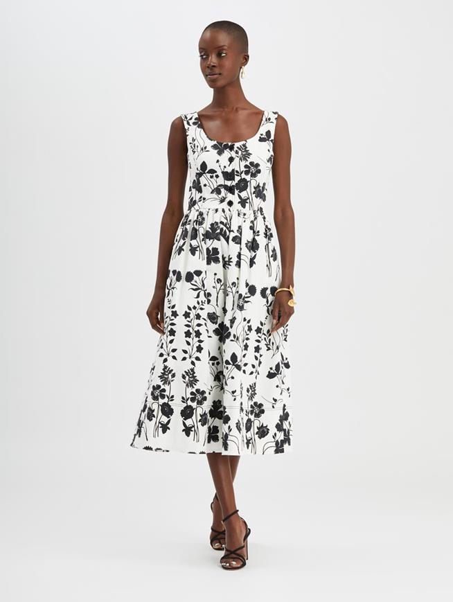 Botanical Silhouette Dress White/ Black