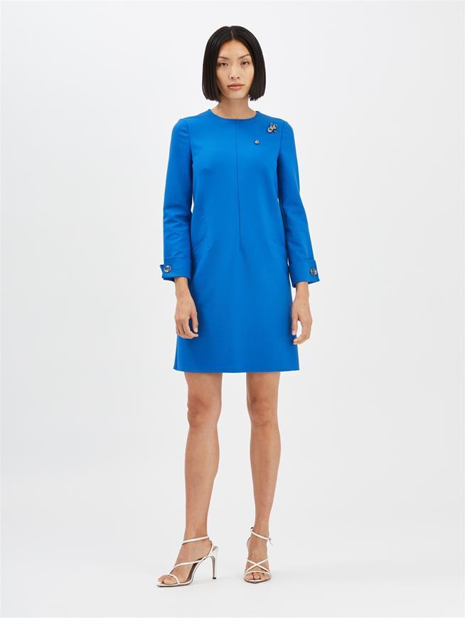 Stretch-Wool Dress Azure