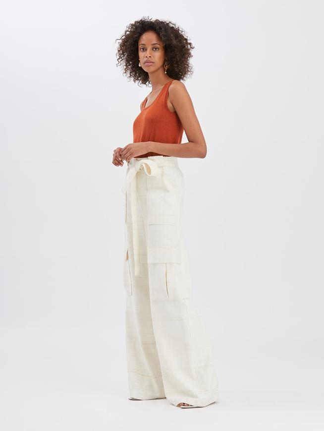 Silk Cargo Pants Ecru
