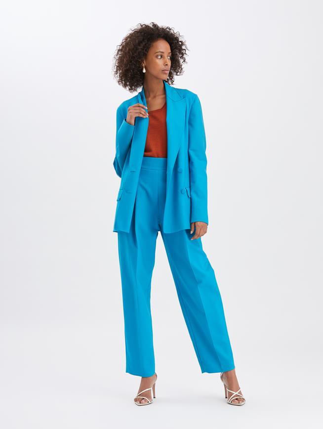 Straight-Leg Pants Turquoise