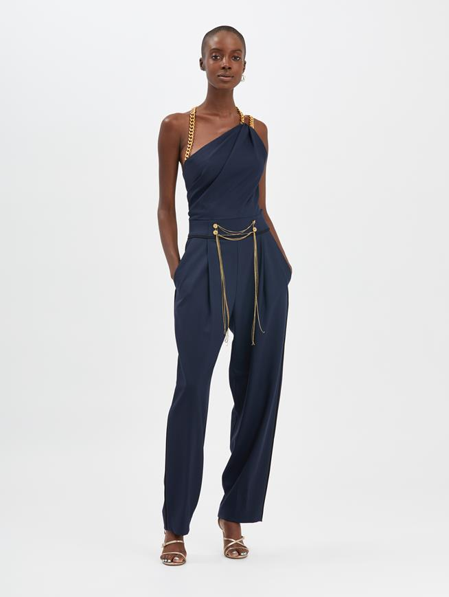Chain-Embroidered Jumpsuit Navy