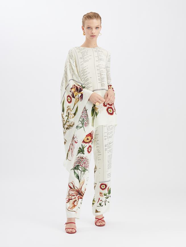 Floral Calligraphy Pants Ecru Multi