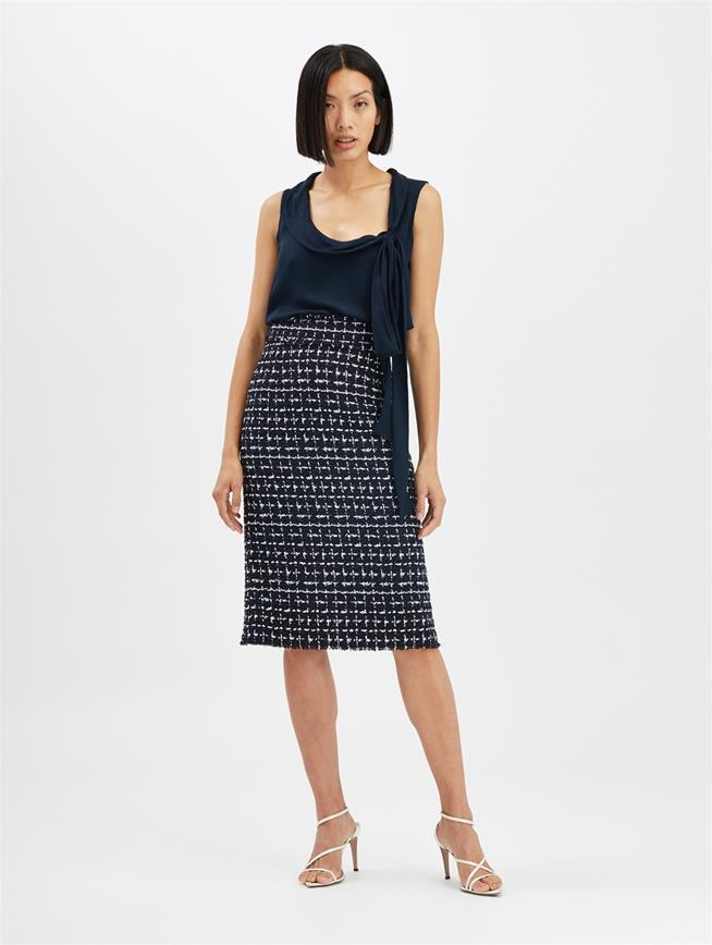 Check Pencil Skirt Midnight
