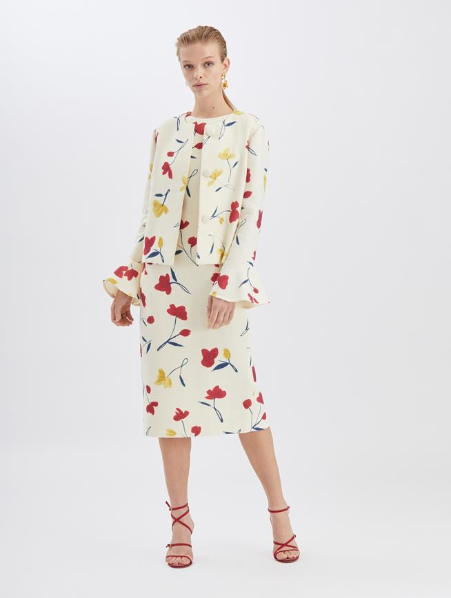 Watercolor Poppies Jacket Ecru Multi
