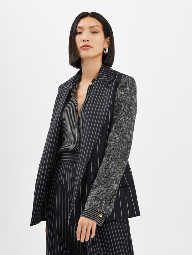 Pinstripe and Mélange Blazer Midnight