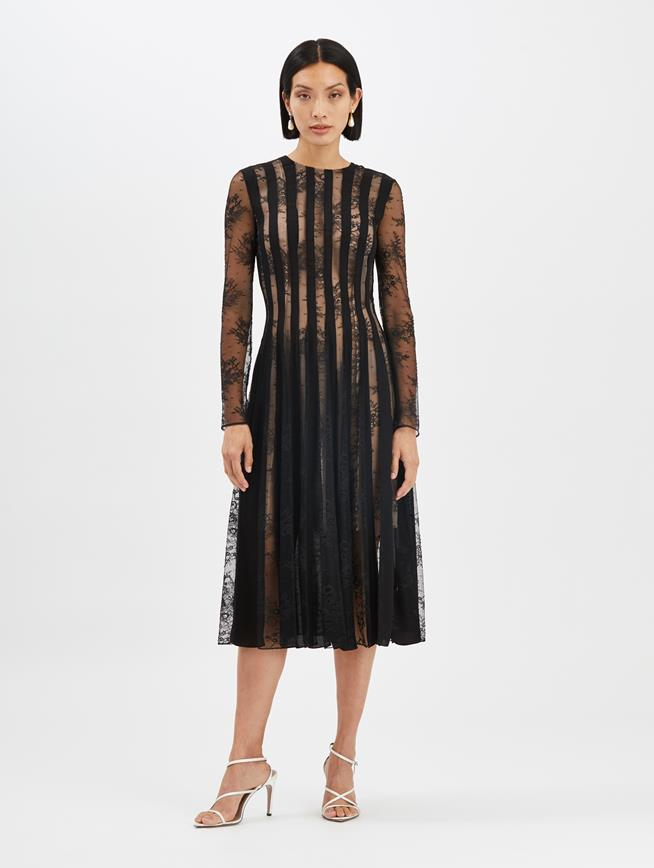 Lace and Satin Cocktail Dress Black