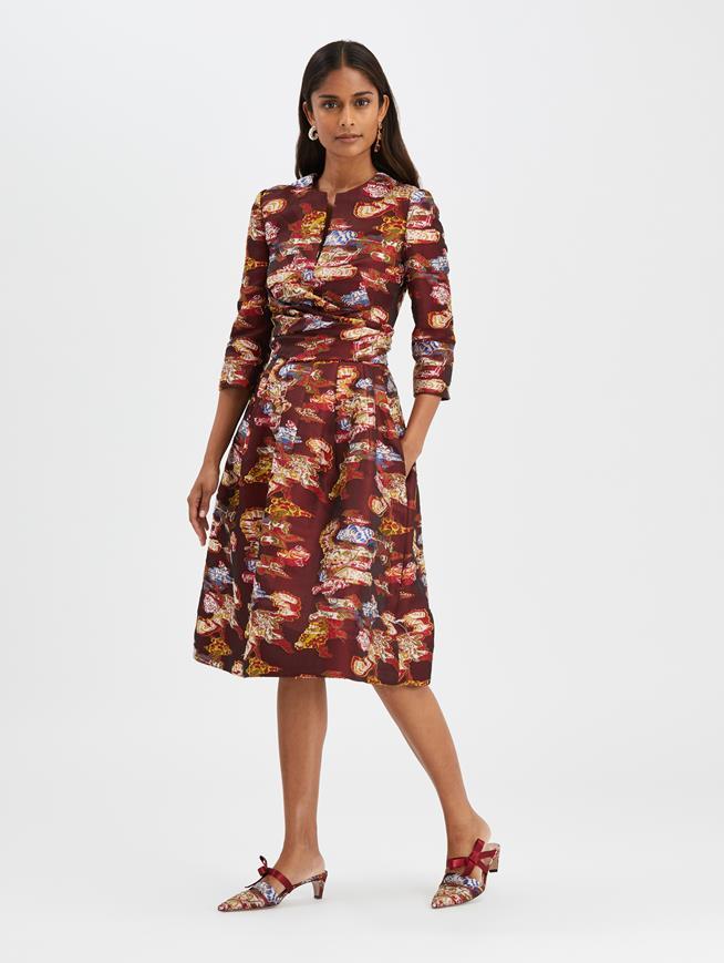 Fil Coupé Cocktail Dress Ruby