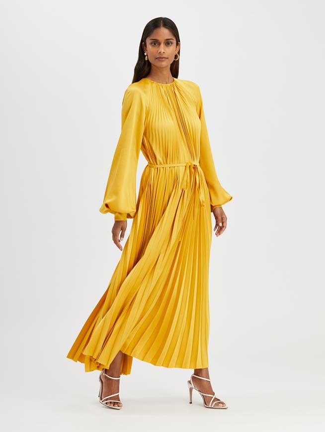 Pleated Cocktail Dress Saffron