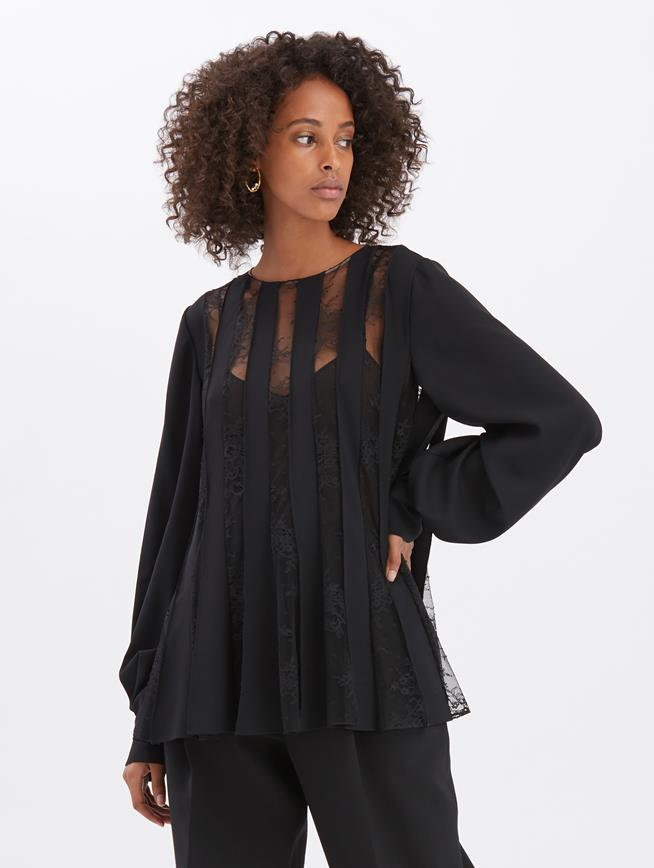 Georgette and Lace Blouse Black