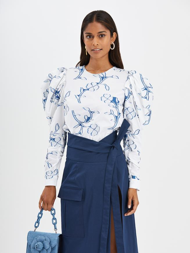 Floral Silhouette Blouse White/Azure